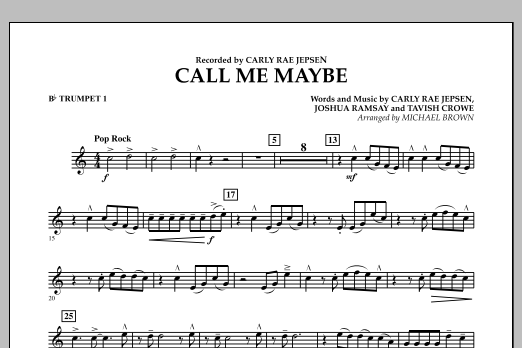 Michael Brown Call Me Maybe - Bb Trumpet 1 sheet music notes and chords