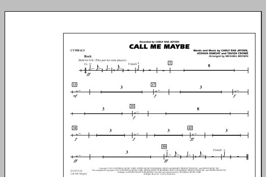 Michael Brown Call Me Maybe - Cymbals sheet music notes and chords