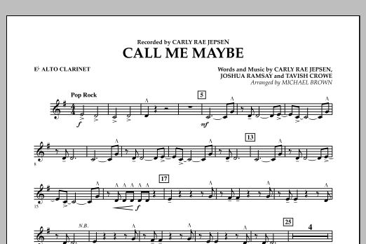 Michael Brown Call Me Maybe - Eb Alto Clarinet sheet music notes and chords