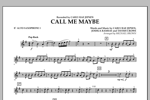 Michael Brown Call Me Maybe - Eb Alto Saxophone 1 sheet music notes and chords