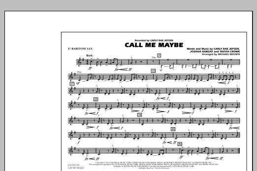 Michael Brown Call Me Maybe - Eb Baritone Sax sheet music notes and chords