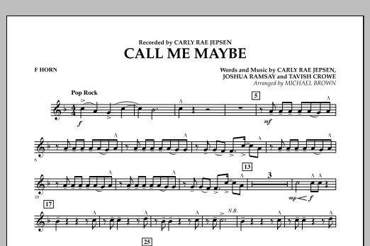 Michael Brown Call Me Maybe - F Horn sheet music notes and chords