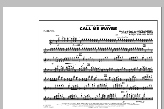 Michael Brown Call Me Maybe - Flute/Piccolo sheet music notes and chords
