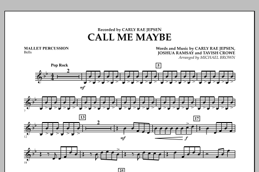Michael Brown Call Me Maybe - Mallet Percussion sheet music notes and chords