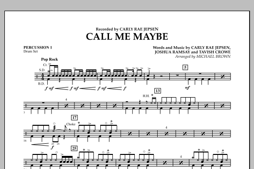 Michael Brown Call Me Maybe - Percussion 1 sheet music notes and chords