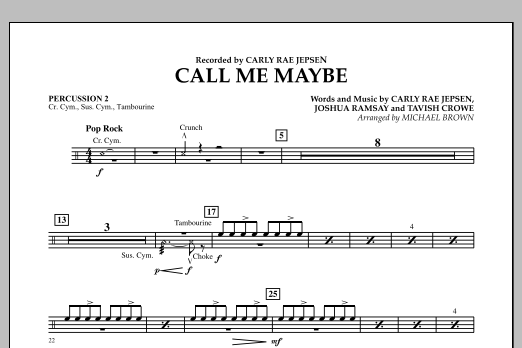 Michael Brown Call Me Maybe - Percussion 2 sheet music notes and chords