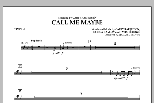 Michael Brown Call Me Maybe - Timpani sheet music notes and chords