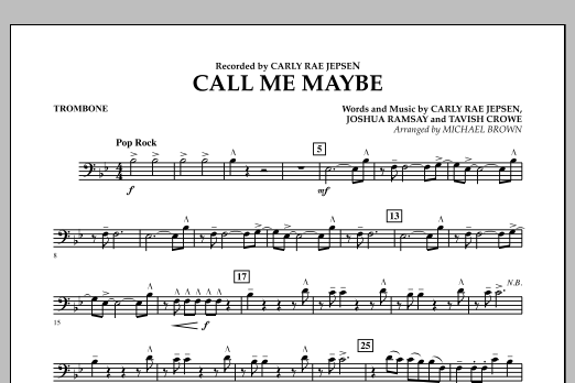 Michael Brown Call Me Maybe - Trombone sheet music notes and chords