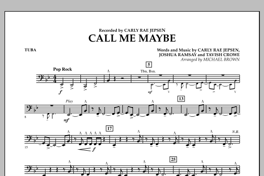 Michael Brown Call Me Maybe - Tuba sheet music notes and chords
