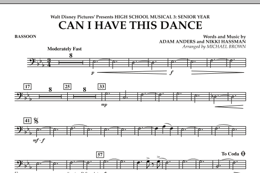 Michael Brown Can I Have This Dance? (from High School Musical 3) - Bassoon sheet music notes and chords