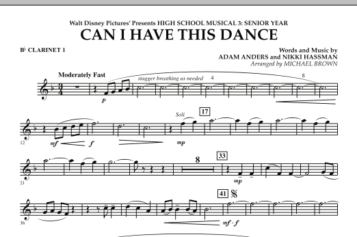Michael Brown Can I Have This Dance? (from High School Musical 3) - Bb Clarinet 1 sheet music notes and chords