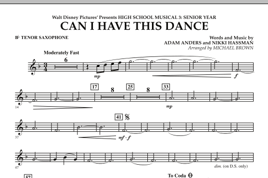 Michael Brown Can I Have This Dance? (from High School Musical 3) - Bb Tenor Saxophone sheet music notes and chords