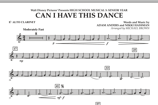 Michael Brown Can I Have This Dance? (from High School Musical 3) - Eb Alto Clarinet sheet music notes and chords