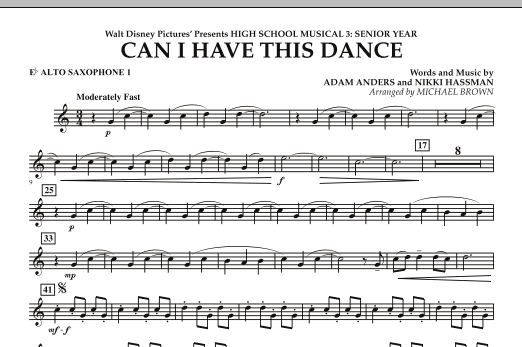 Michael Brown Can I Have This Dance? (from High School Musical 3) - Eb Alto Saxophone 1 sheet music notes and chords