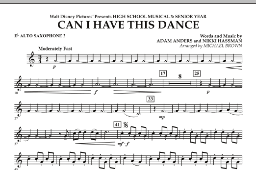 Michael Brown Can I Have This Dance? (from High School Musical 3) - Eb Alto Saxophone 2 sheet music notes and chords