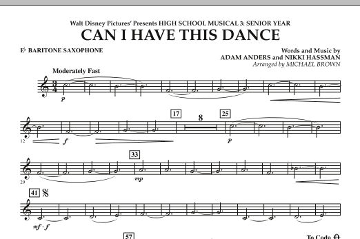 Michael Brown Can I Have This Dance? (from High School Musical 3) - Eb Baritone Saxophone sheet music notes and chords