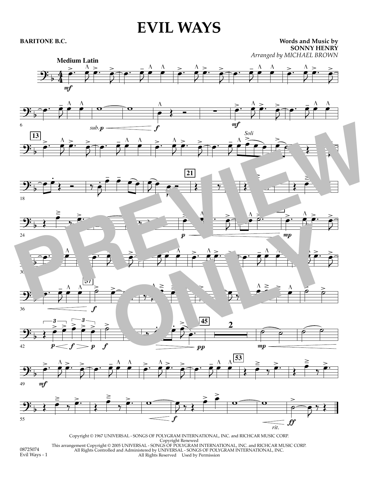 Michael Brown Evil Ways - Baritone B.C. sheet music preview music notes and score for Concert Band including 1 page(s)