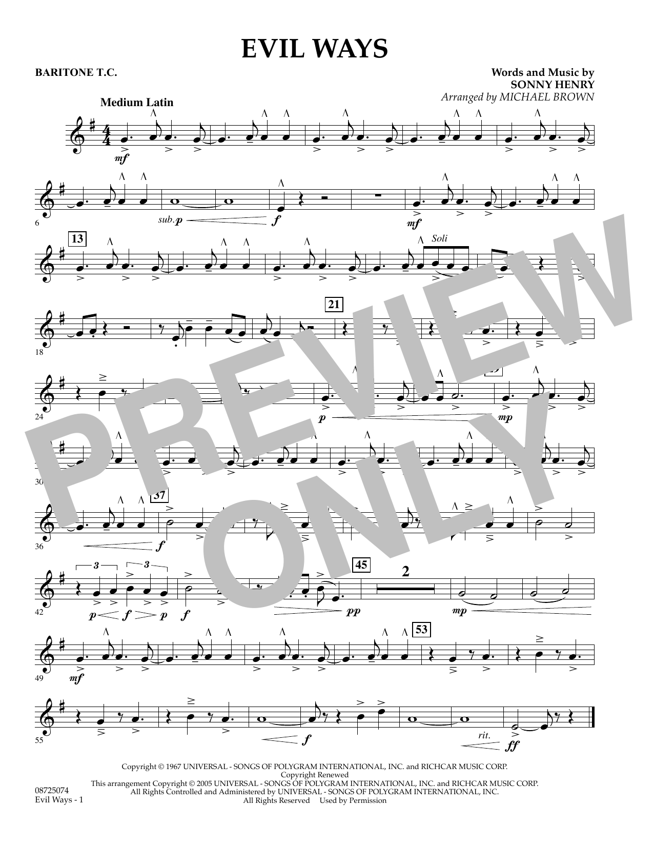 Michael Brown Evil Ways - Baritone T.C. sheet music preview music notes and score for Concert Band including 1 page(s)