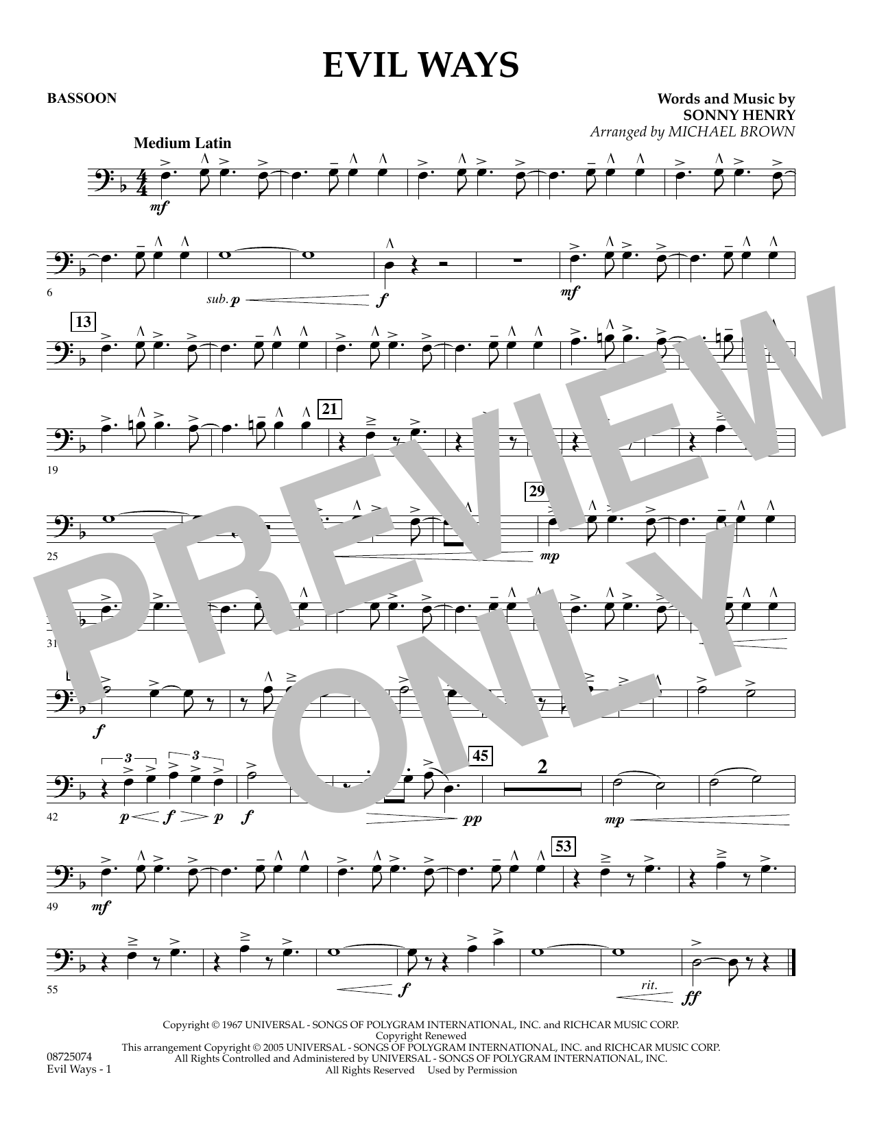 Michael Brown Evil Ways - Bassoon sheet music preview music notes and score for Concert Band including 1 page(s)