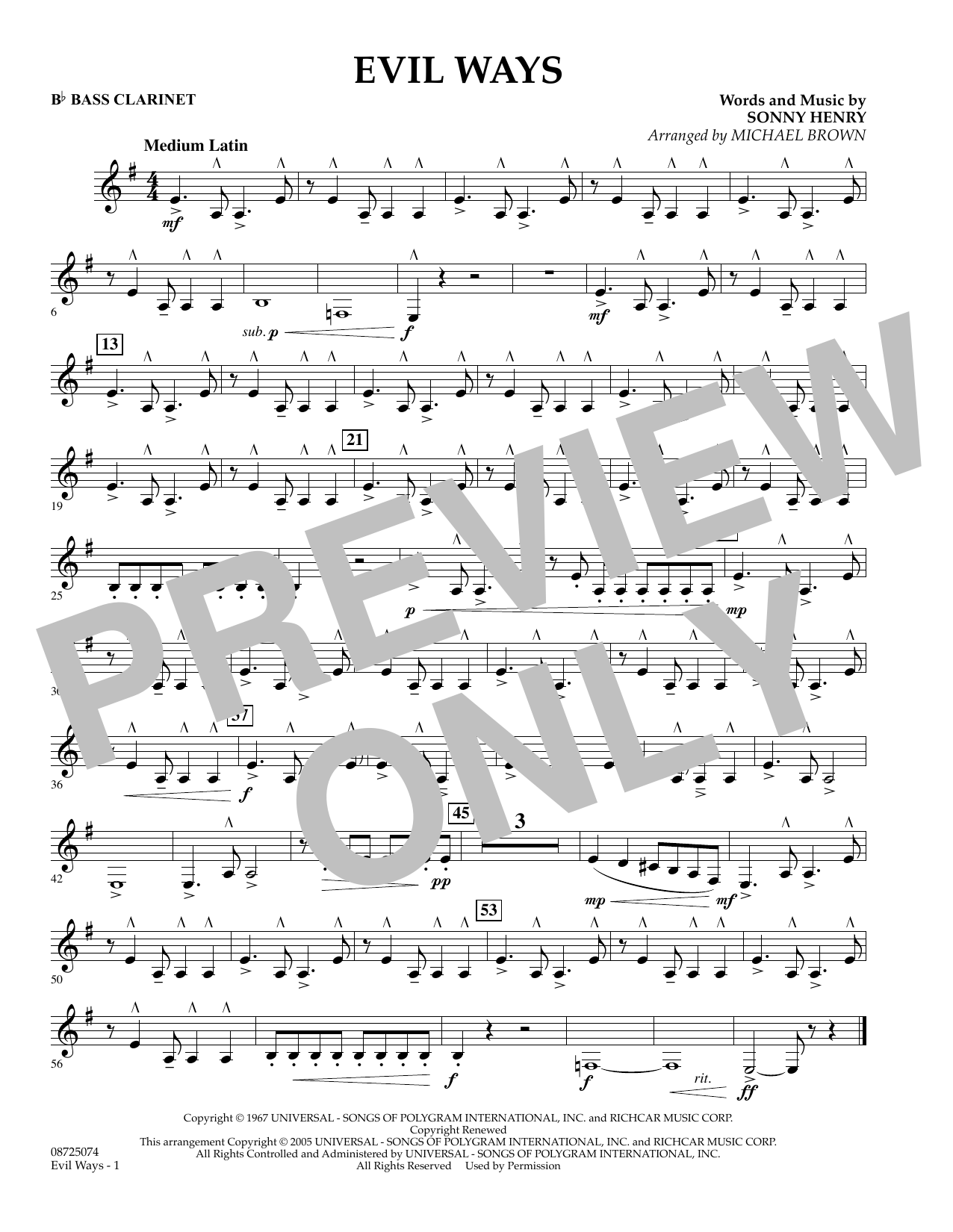 Michael Brown Evil Ways - Bb Bass Clarinet sheet music preview music notes and score for Concert Band including 1 page(s)