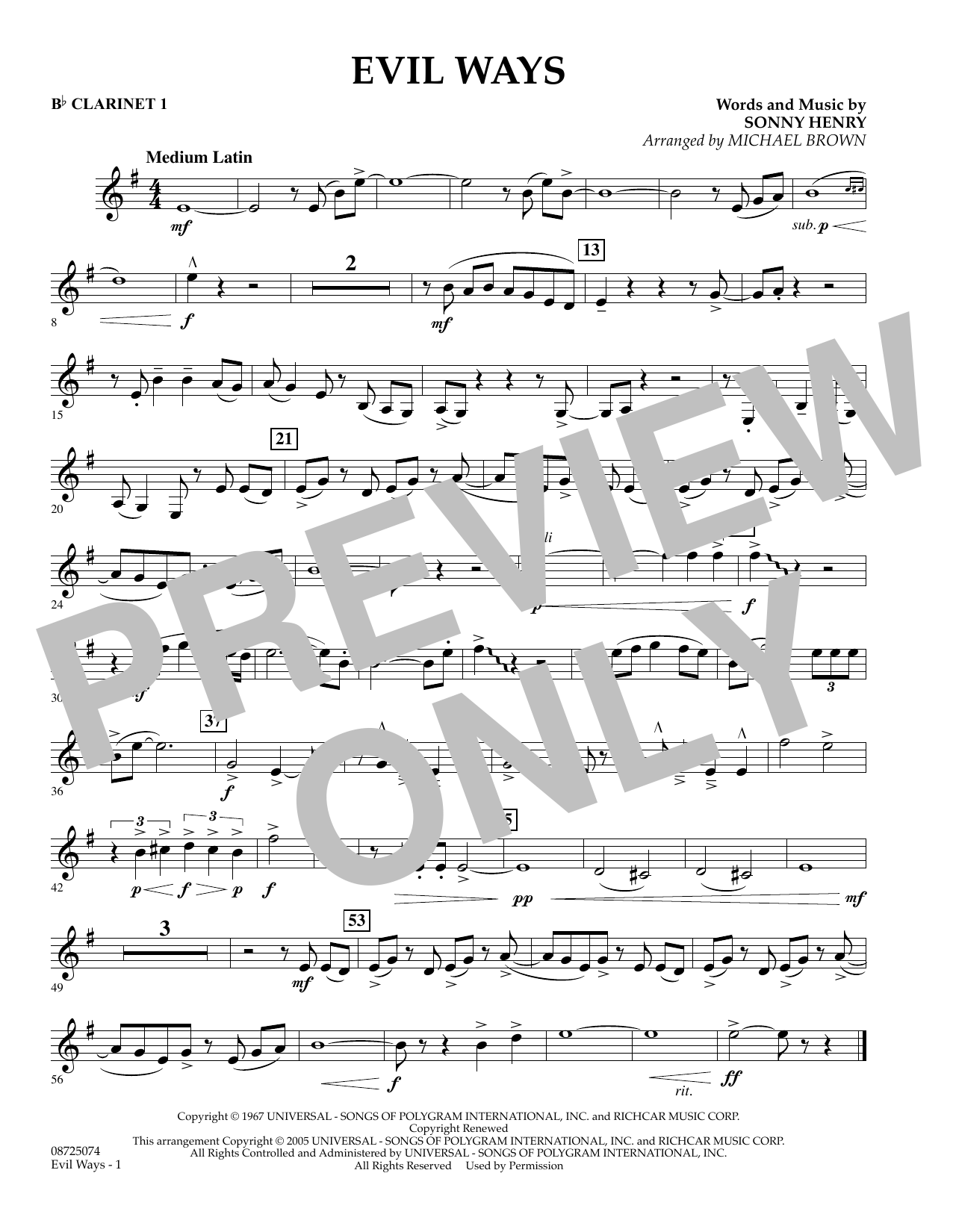 Michael Brown Evil Ways - Bb Clarinet 1 sheet music preview music notes and score for Concert Band including 1 page(s)
