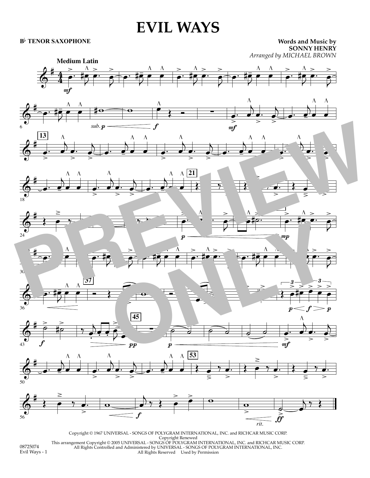 Michael Brown Evil Ways - Bb Tenor Saxophone sheet music preview music notes and score for Concert Band including 1 page(s)