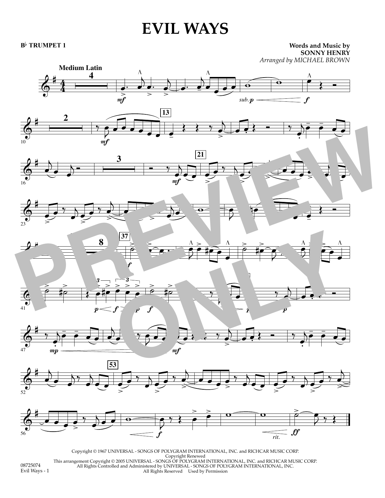 Michael Brown Evil Ways - Bb Trumpet 1 sheet music preview music notes and score for Concert Band including 1 page(s)