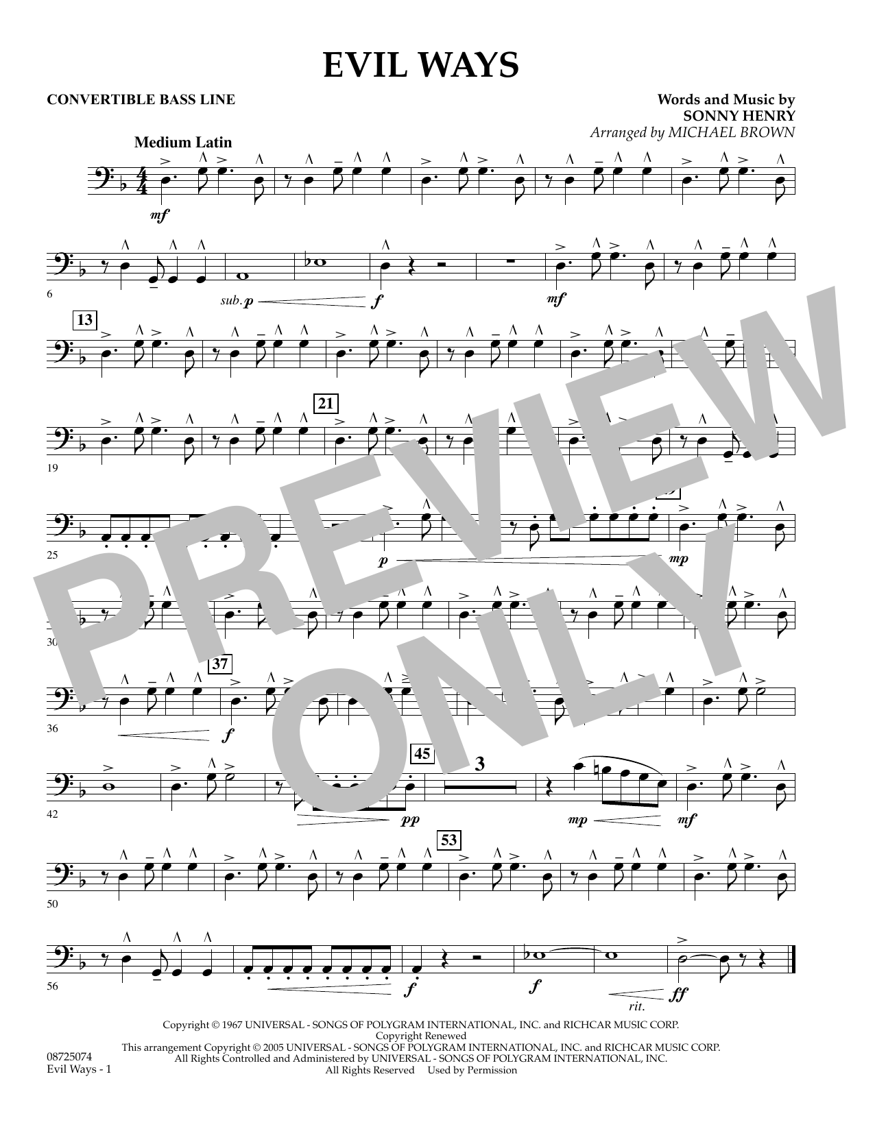 Michael Brown Evil Ways - Convertible Bass Line sheet music preview music notes and score for Concert Band including 1 page(s)