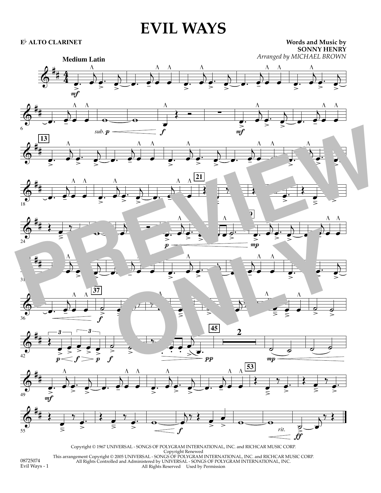 Michael Brown Evil Ways - Eb Alto Clarinet sheet music preview music notes and score for Concert Band including 1 page(s)