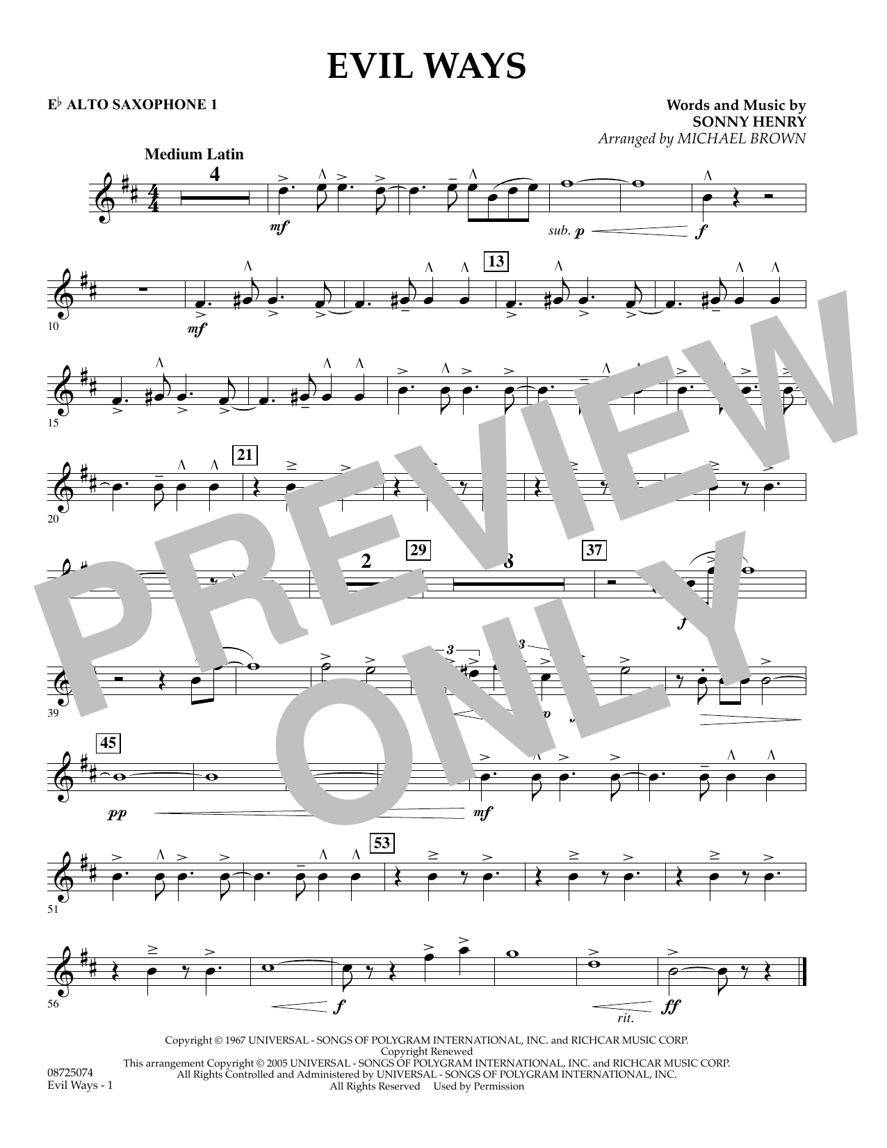 Michael Brown Evil Ways - Eb Alto Saxophone 1 sheet music preview music notes and score for Concert Band including 1 page(s)