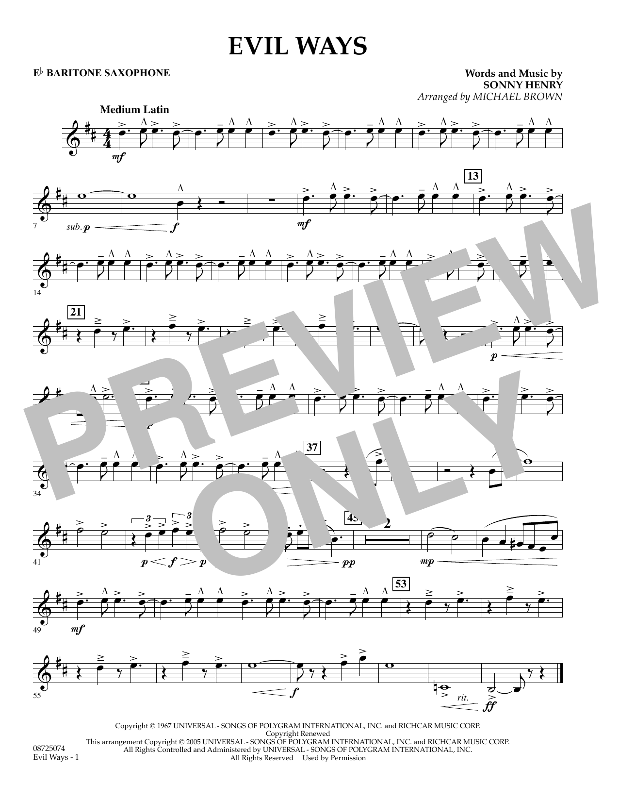 Michael Brown Evil Ways - Eb Baritone Saxophone sheet music preview music notes and score for Concert Band including 1 page(s)