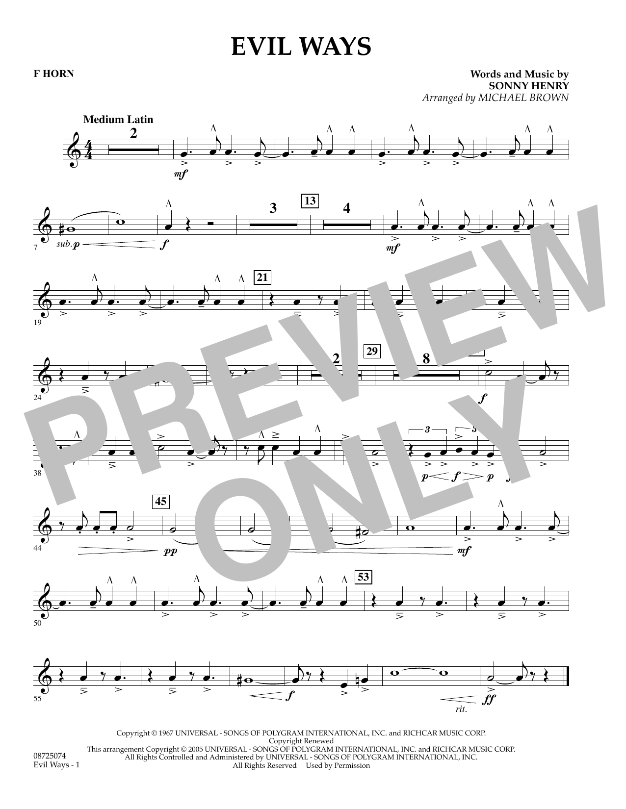 Michael Brown Evil Ways - F Horn sheet music preview music notes and score for Concert Band including 1 page(s)