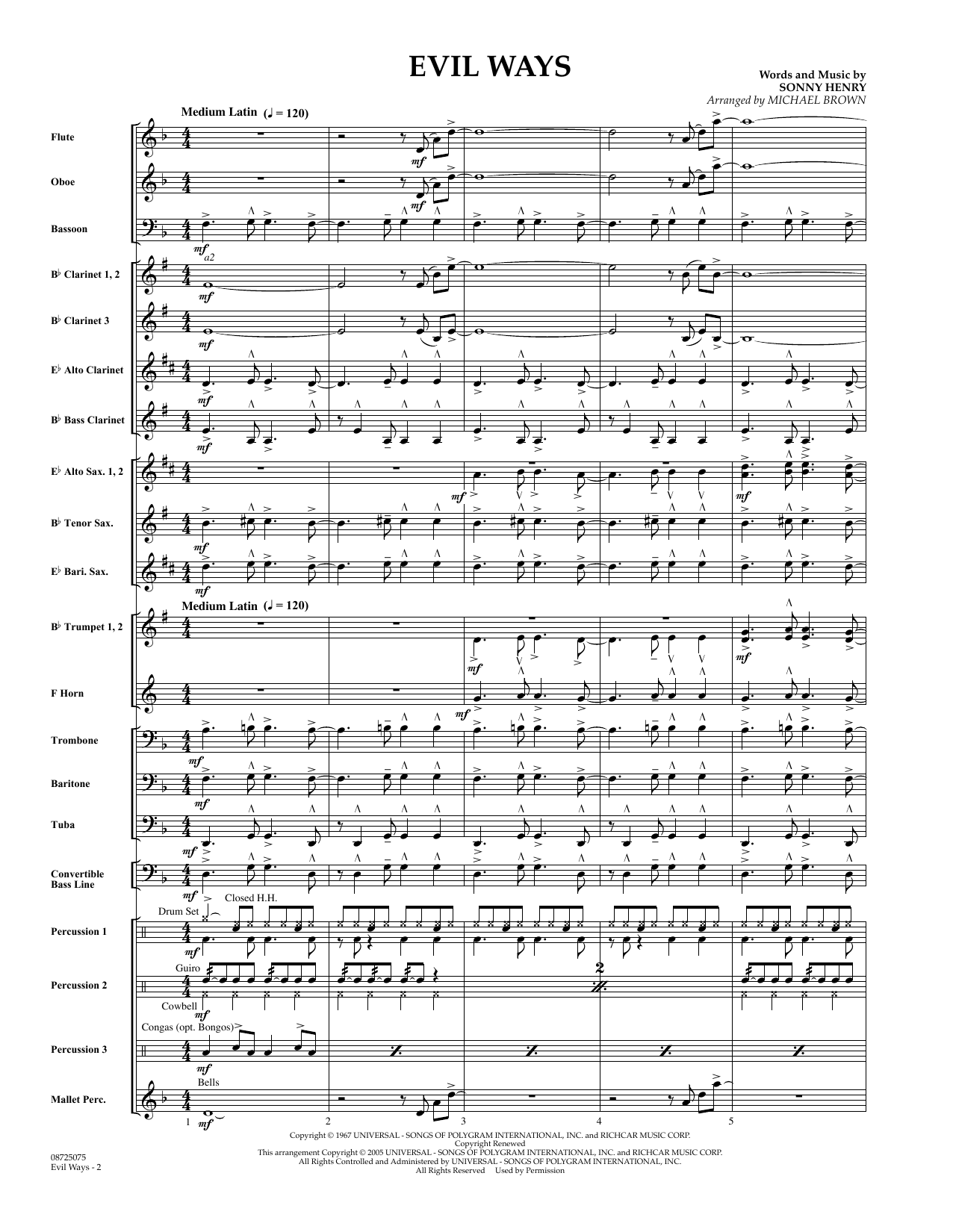 Michael Brown Evil Ways - Full Score sheet music preview music notes and score for Concert Band including 11 page(s)