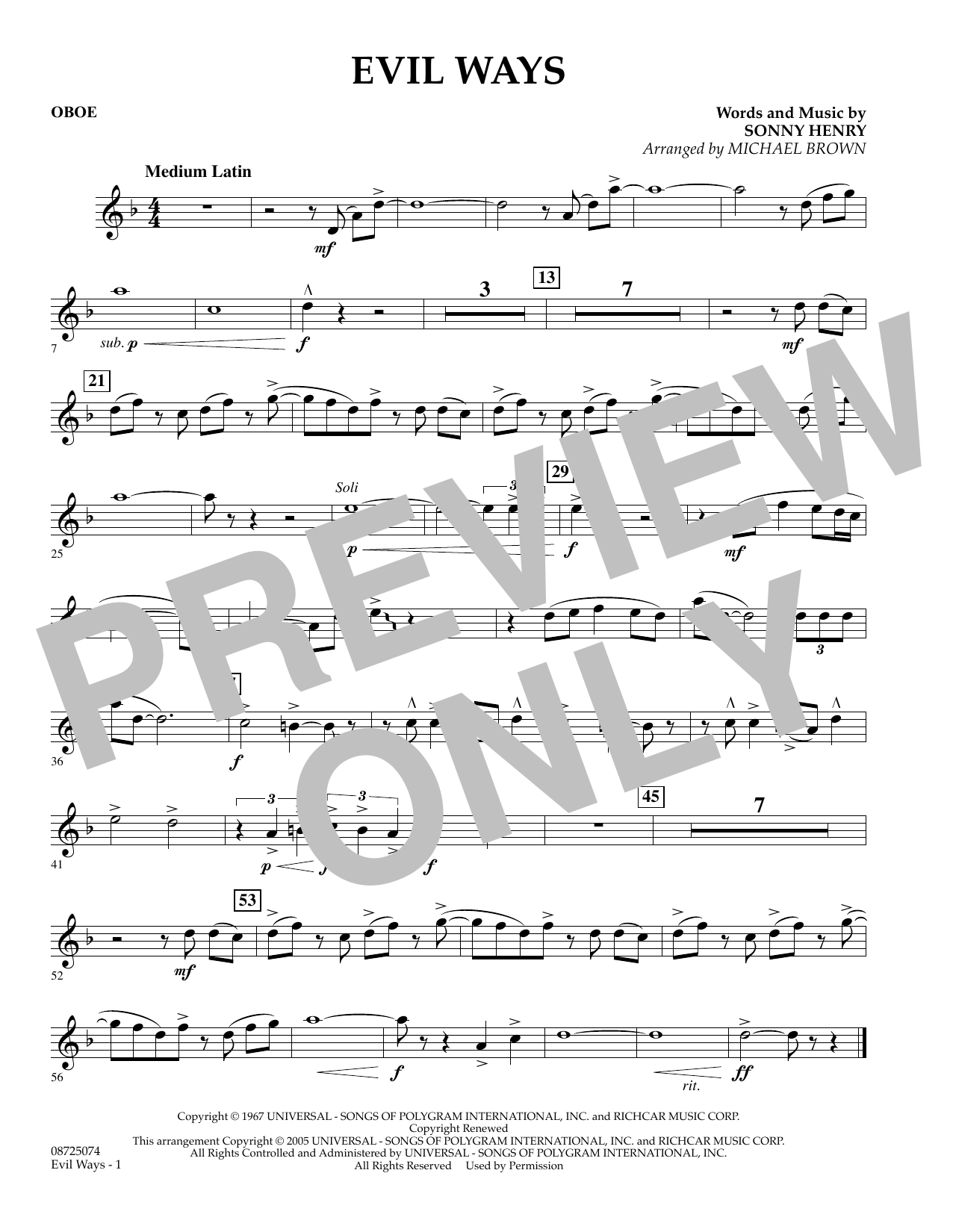 Michael Brown Evil Ways - Oboe sheet music preview music notes and score for Concert Band including 1 page(s)