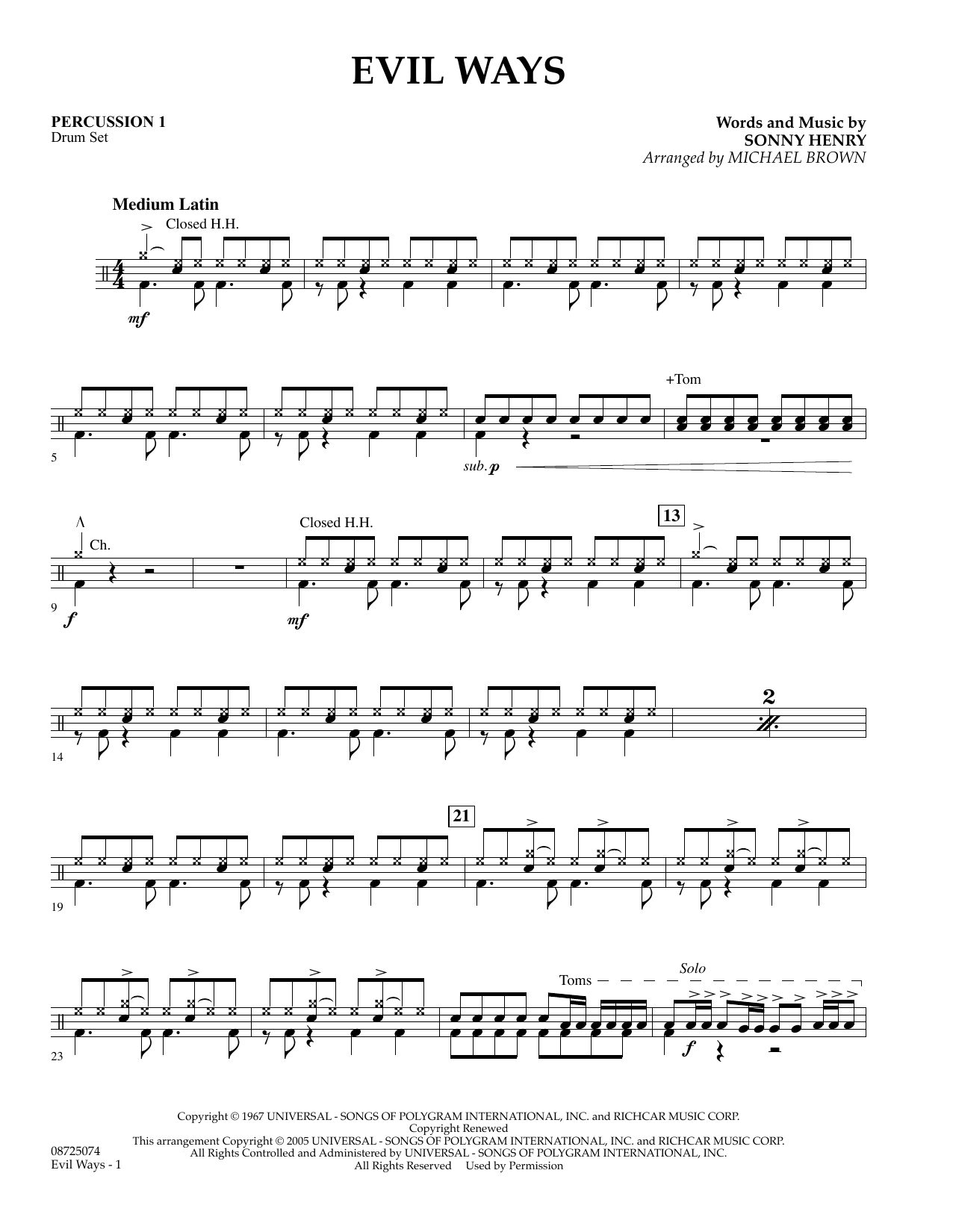 Michael Brown Evil Ways - Percussion 1 sheet music preview music notes and score for Concert Band including 2 page(s)