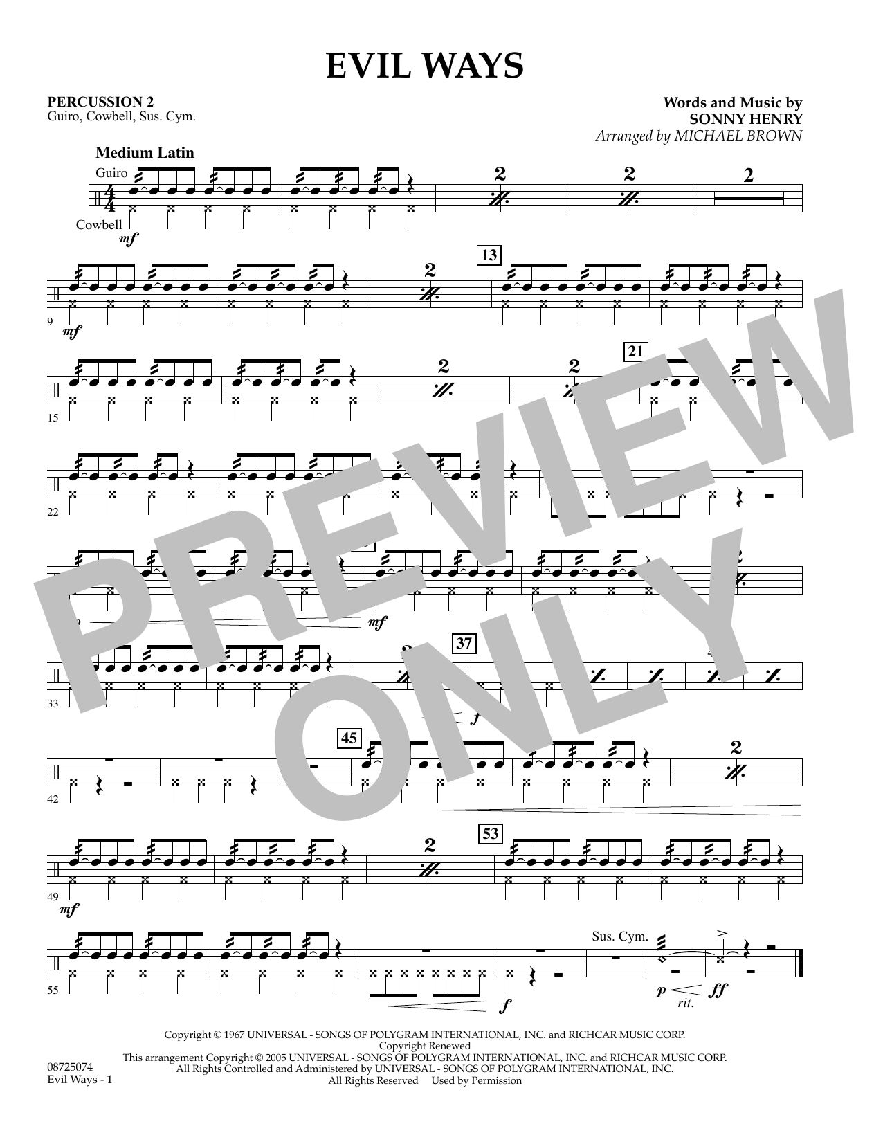 Michael Brown Evil Ways - Percussion 2 sheet music preview music notes and score for Concert Band including 1 page(s)