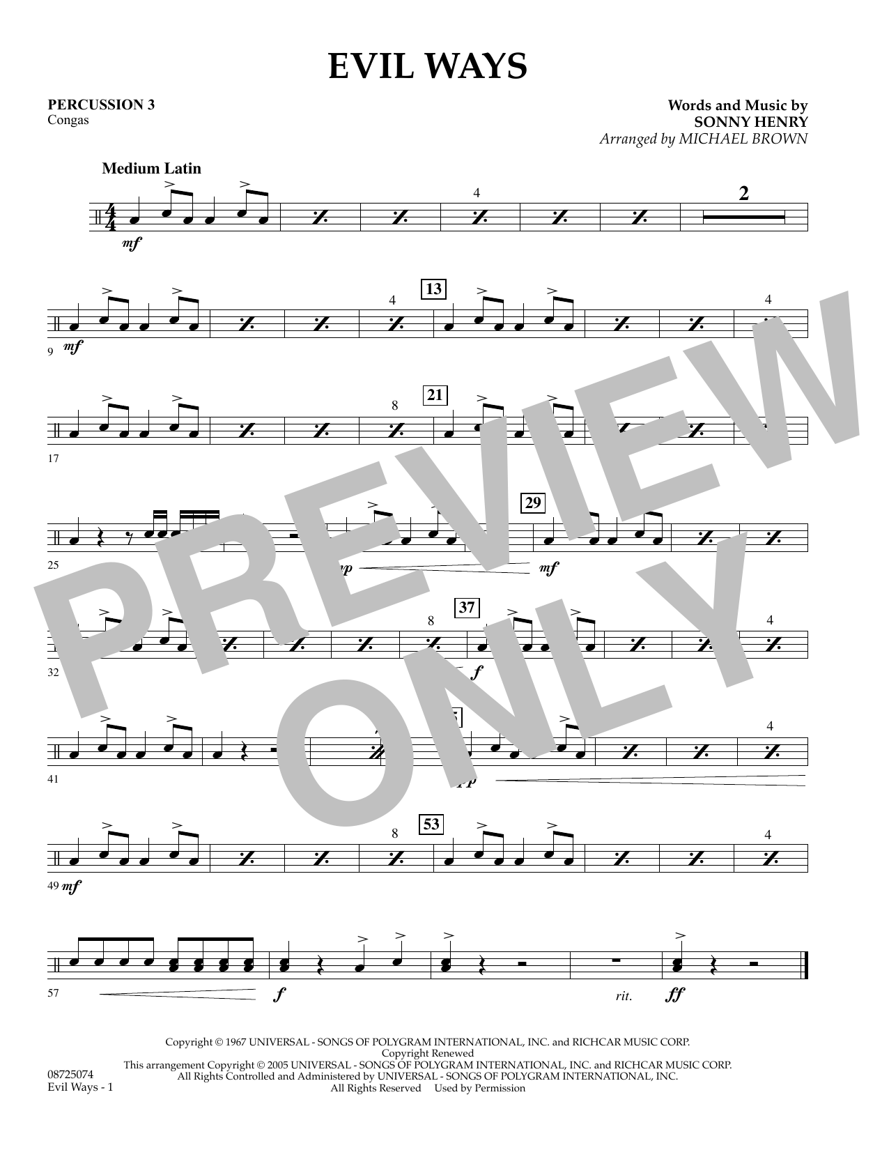 Michael Brown Evil Ways - Percussion 3 sheet music preview music notes and score for Concert Band including 1 page(s)