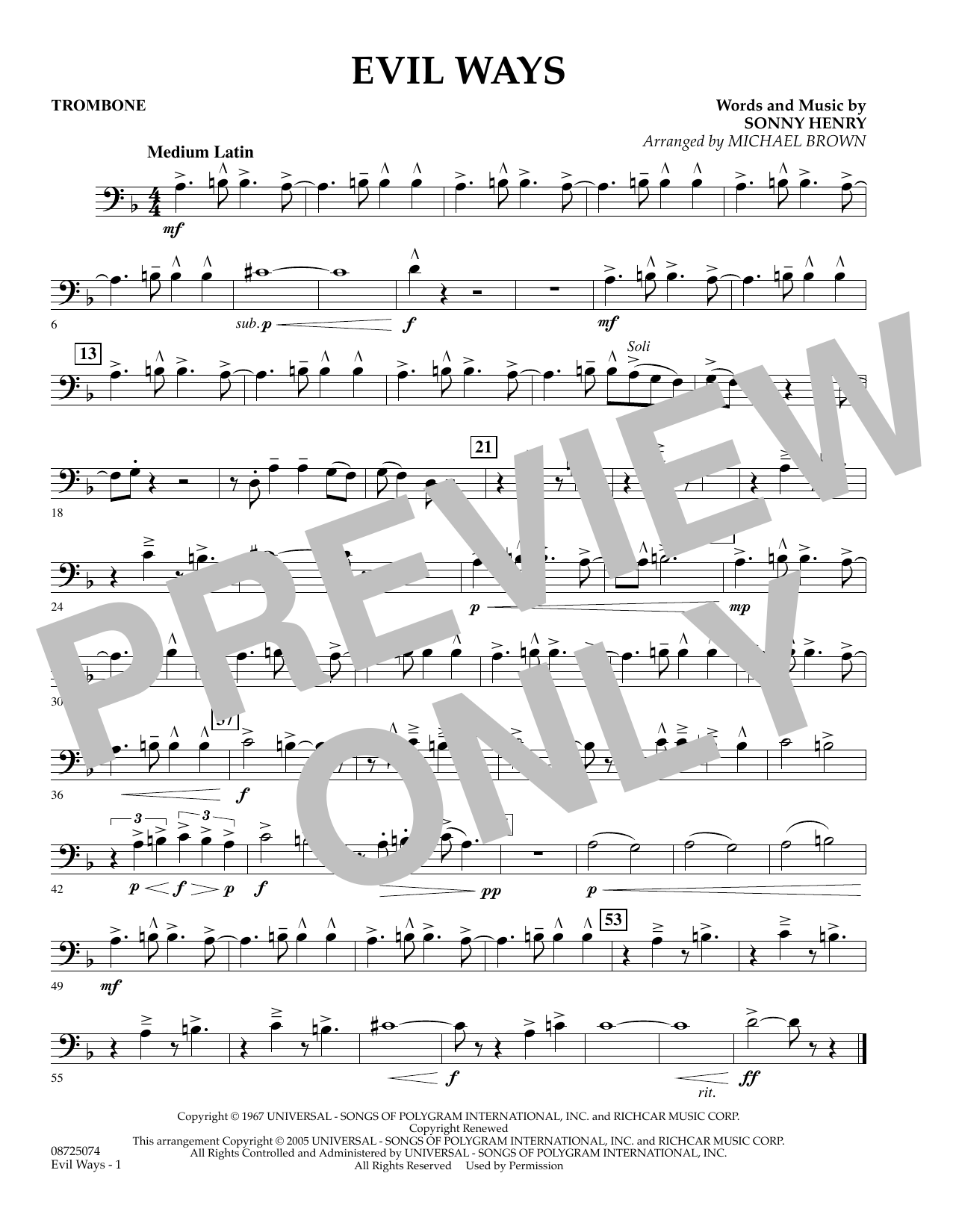 Michael Brown Evil Ways - Trombone sheet music preview music notes and score for Concert Band including 1 page(s)