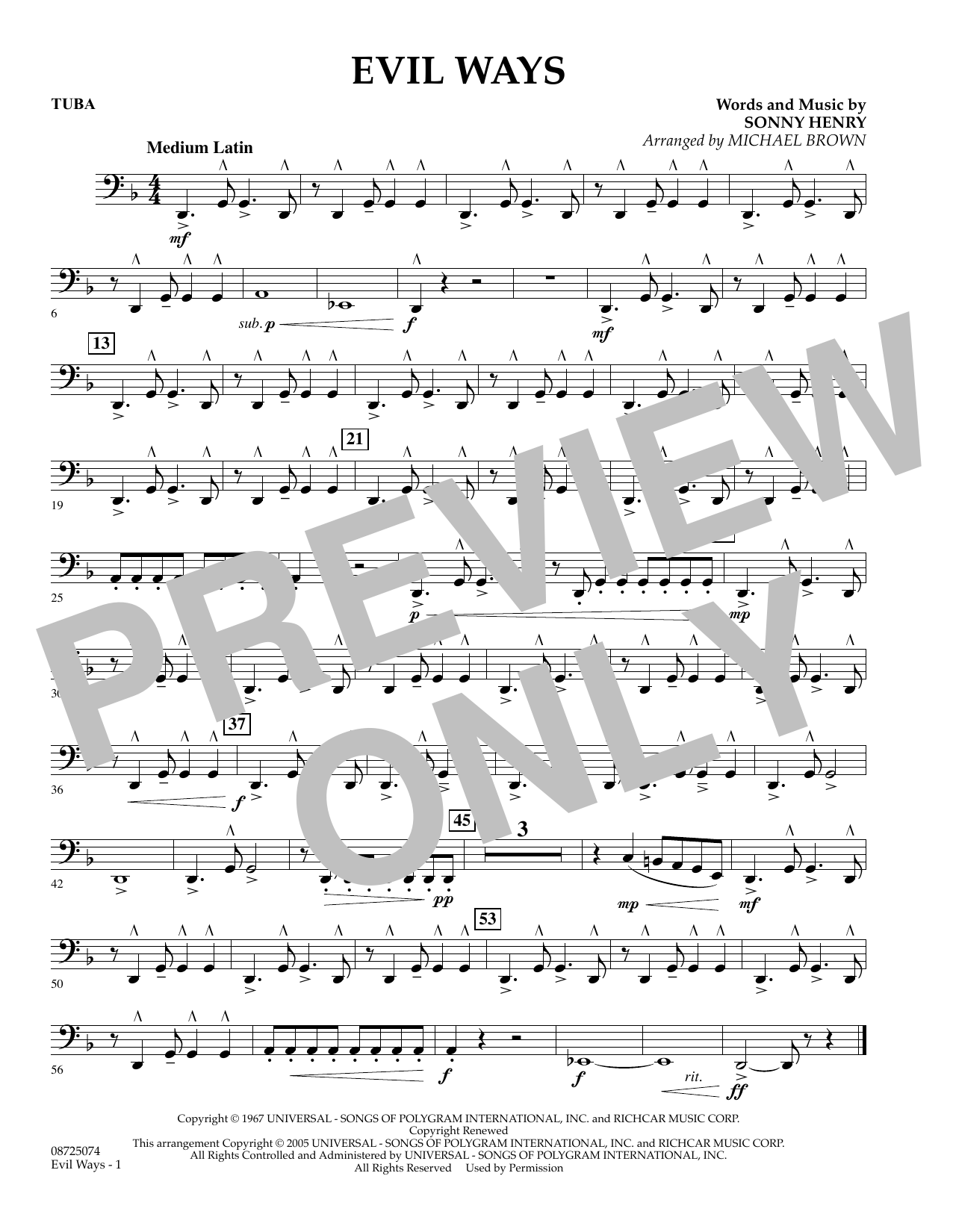 Michael Brown Evil Ways - Tuba sheet music preview music notes and score for Concert Band including 1 page(s)
