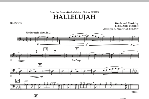 Michael Brown Hallelujah - Bassoon sheet music preview music notes and score for Concert Band including 1 page(s)
