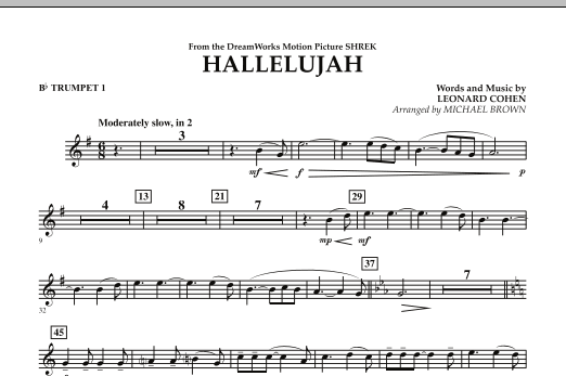 Michael Brown Hallelujah - Bb Trumpet 1 sheet music preview music notes and score for Concert Band including 1 page(s)