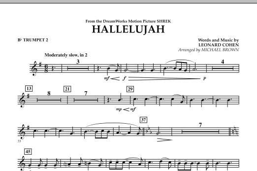 Michael Brown Hallelujah - Bb Trumpet 2 sheet music preview music notes and score for Concert Band including 1 page(s)