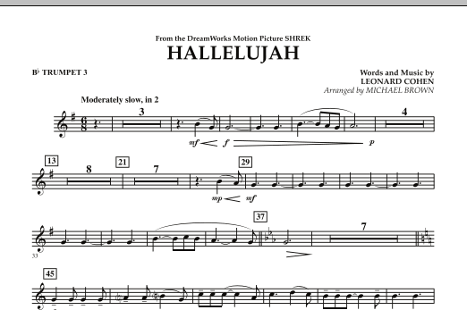 Michael Brown Hallelujah - Bb Trumpet 3 sheet music preview music notes and score for Concert Band including 1 page(s)