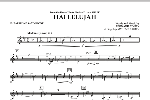 Michael Brown Hallelujah - Eb Baritone Saxophone sheet music preview music notes and score for Concert Band including 1 page(s)