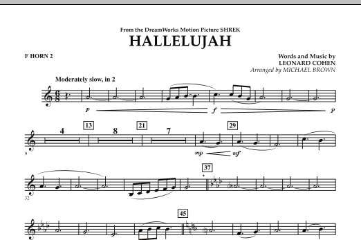 Michael Brown Hallelujah - F Horn 2 sheet music preview music notes and score for Concert Band including 1 page(s)