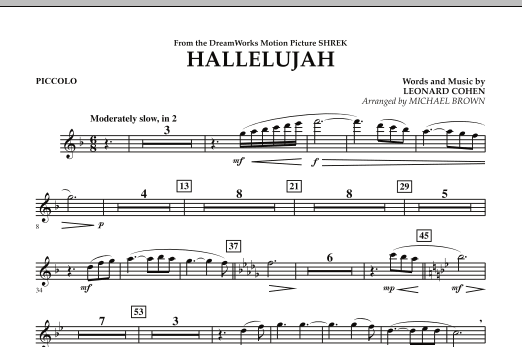Michael Brown Hallelujah - Piccolo sheet music preview music notes and score for Concert Band including 1 page(s)