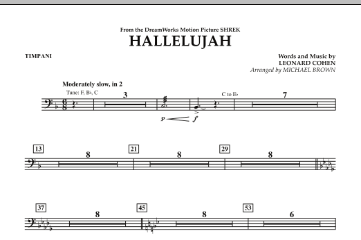 Michael Brown Hallelujah - Timpani sheet music preview music notes and score for Concert Band including 1 page(s)