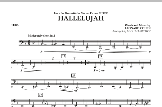 Michael Brown Hallelujah - Tuba sheet music preview music notes and score for Concert Band including 1 page(s)