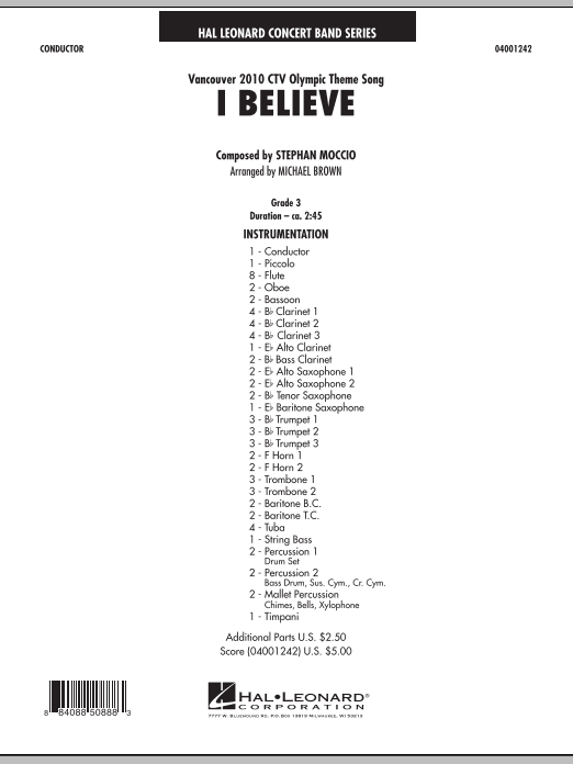 Download Michael Brown 'I Believe (Vancouver 2010 CTV Olympic Theme Song) - Full Score' Digital Sheet Music Notes & Chords and start playing in minutes