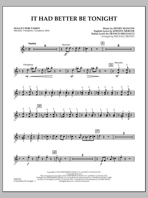 Michael Brown It Had Better Be Tonight - Mallet Percussion sheet music notes and chords